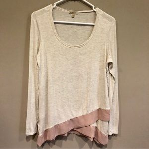Anthropologie Bordeaux Tee with Contrasting Hem